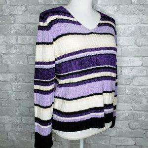 Carolyn Taylor Striped V-Neck Soft Knit Sweater M